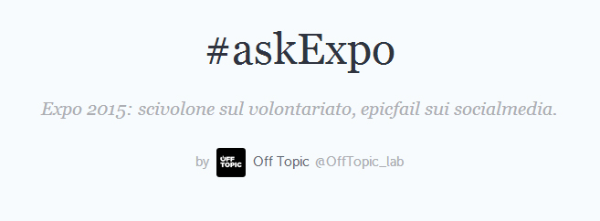 #askExpo – Volontari e free jobs